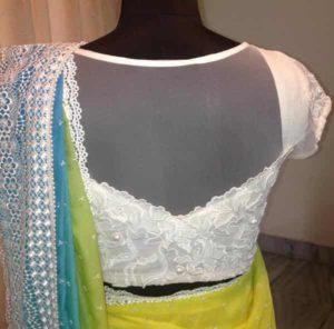 chikankari blouse work