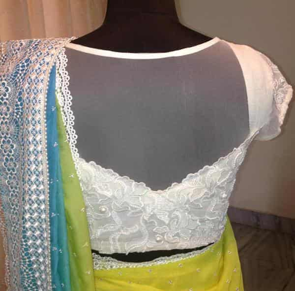 chikankari blouse work