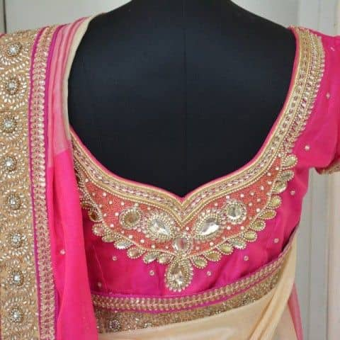 Gold Thread Maggam Work with Semi-Precious Stones