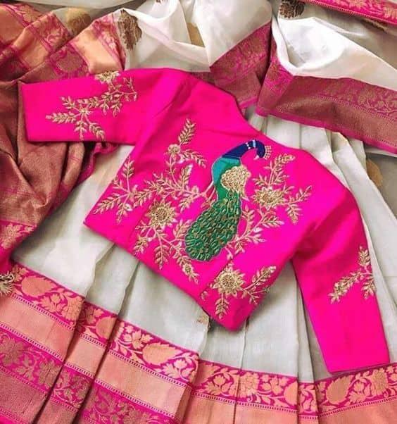 Peacock Motif Maggam Blouse