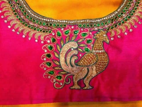 Peacock Theme Maggam Work Blouse Design