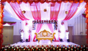 drapes and orchid stage decoration