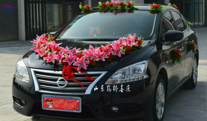 wedding car flower decoration_2