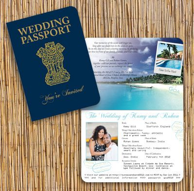 Passport styled Wedding cards