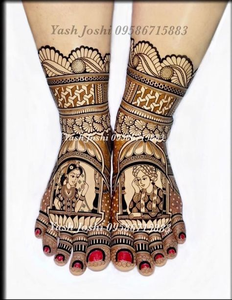 Bride and groom mehndi design for legs