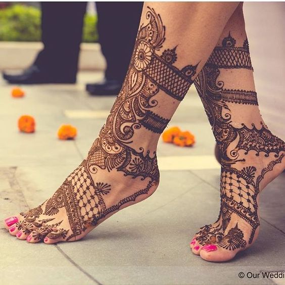 Lace Mehendi Designs for Feet