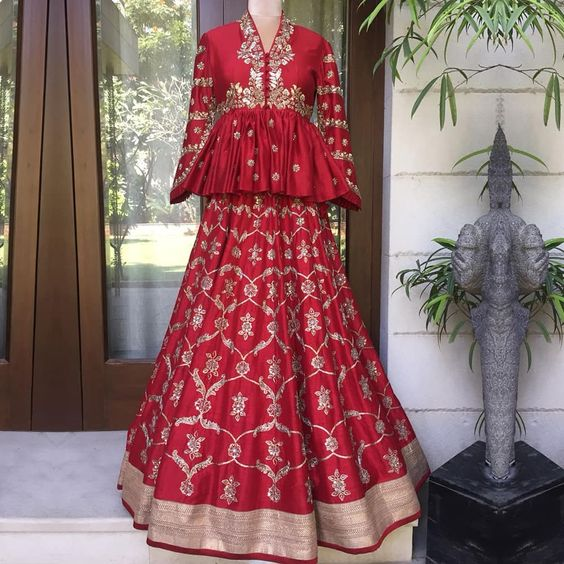 Reuse Lehenga with Peplum Top