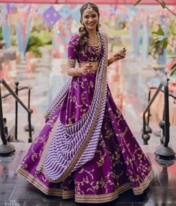 Eggplant Color Bridal Lehenga