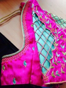 Simple sleeve cutwork designer blouse