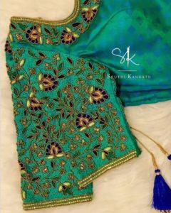 Floral designer cut work blouse