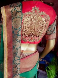 Intricate cutwork blouse design