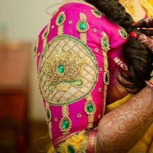 Lotus embedded cutwork blouse