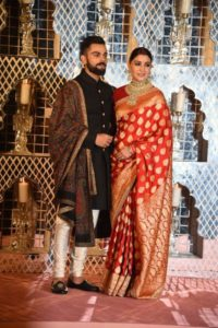 nushka Sharma reception saree