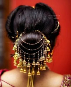 Bun hairstyle with jewellery