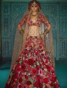 Floral printed bridal lehenga
