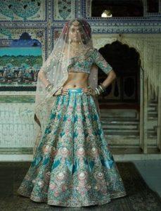 Iranian turquoise velvet lehenga